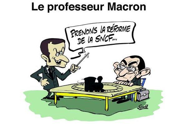 Le dessin de Souch / Illustration Macron/SNCF