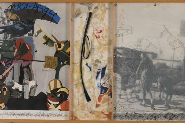 """""""Mère-Afrique"""", 1982 (mine graphite, papiers découpés et collés sur papier, tirage photographie, œillets métalliques, calque et cuir)"""