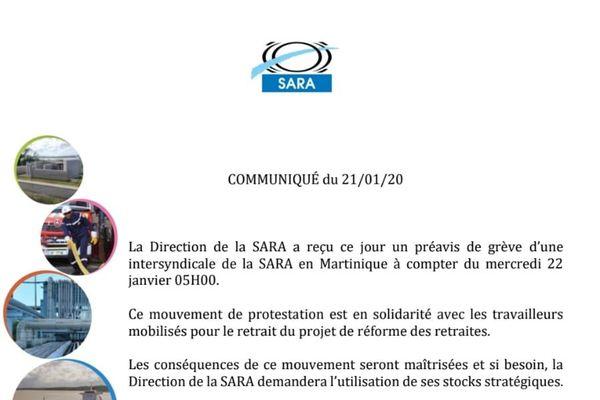 Communiqué de presse de la SARA