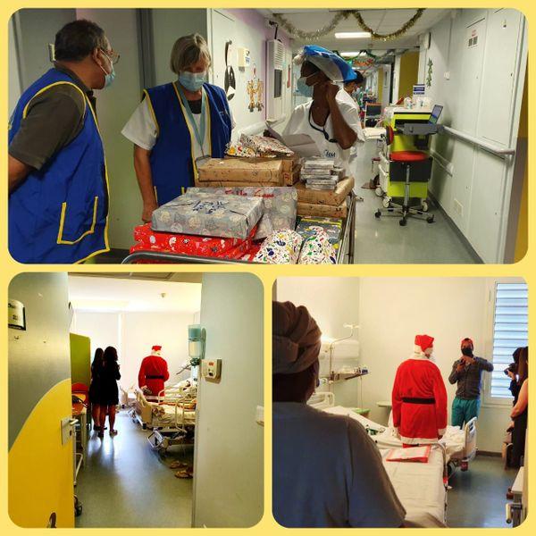 Distribution de cadeaux à l'hôpital par le Rotary