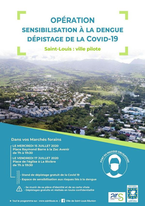 Affiche campagne de dépistage Covid gratuit marché forain Saint-Louis 130720