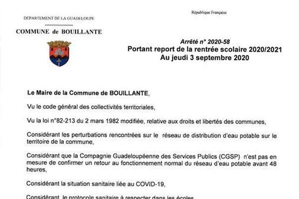Arrêté report rentrée Bouillante