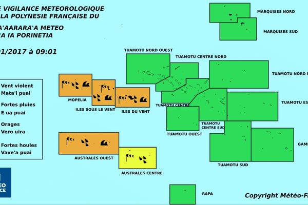 Toute la Société et l'Ouest des Australes en vigilance orange