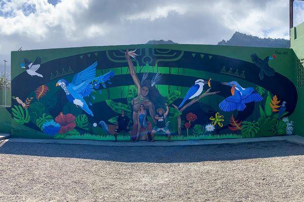 """TE AOATAKU À O HIVA""- fresque murale à Hiva Oa"