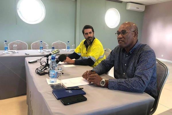 Conférence de presse Koniambo Nickel, KNS, à Nouméa, 21 juillet 2021, Armand Fouin et Alcide Ponga