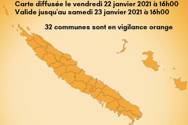 Avis de vigilance orange pour 32 communes, 22 janvier 2021