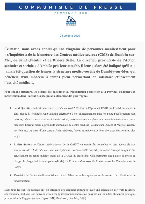 Communique province Sud CMS