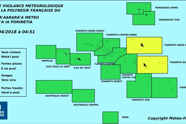 Carte météo vigilance - 22/04/2018