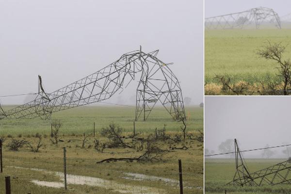 Plusieurs pylônes électriques n'ont pas résisté à la force des vents.
