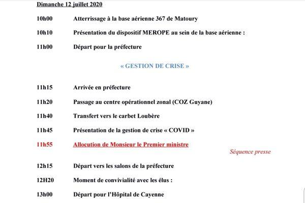 Programme de la visite du Premier Ministre Jean Castex en Guyane le 12 juillet