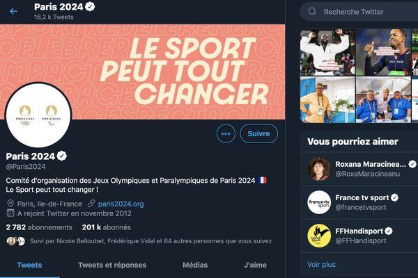 Compte Twitter Paris 2024