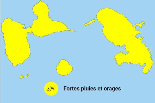Vigilance jaune Guadeloupe et Martinique - fortes pluies et orages