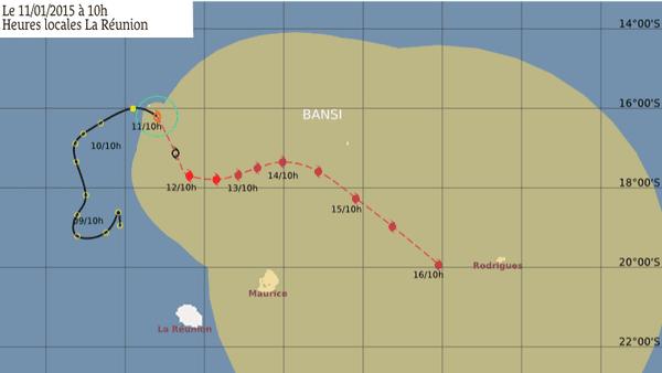 Trajectoire cyclone Bansi 10 01 2015 10H