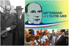 de gauche à droite : François Mitterrand et Gaston Defferre, ministre de l'Intérieur chargé de la décentralisation en 1982, François Mitterrand à Fort-de-France (Martinique) en 1985