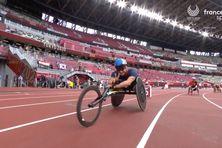 Aux séries du 400 mètres fauteuil T53, le 29 août à Tokyo.