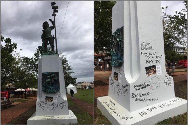 Statue de Pierre Belain d'Esnambuc vandalisée