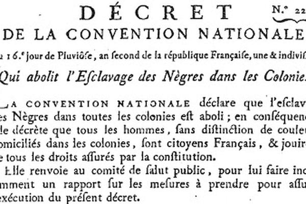 1ere abolition de l'esclavage (4 février 1794)