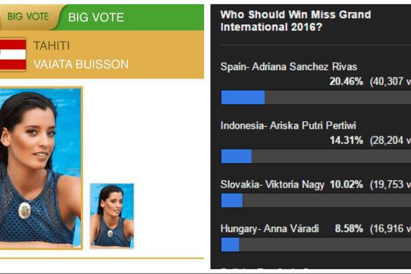 Vote pour Vaiata Buisson à l'élection Miss Grand International