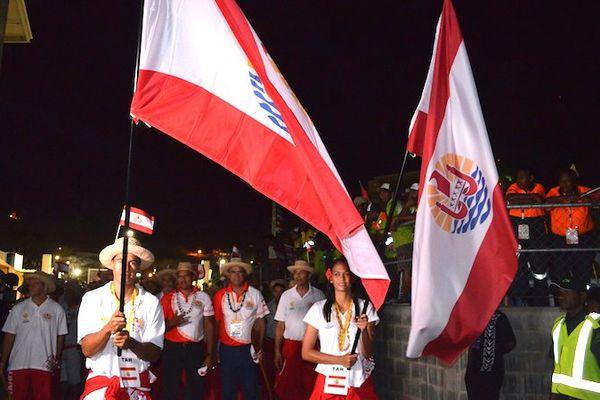 Cérémonie d'ouverture des XVème Jeux du Pacifique 2015 en Papouasie Nouvelle-Guinée, la délgation tahitienne