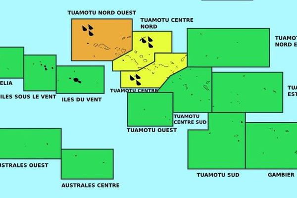 Vigilance orange pour les fortes pluies sur les Tuamotu nord ouest