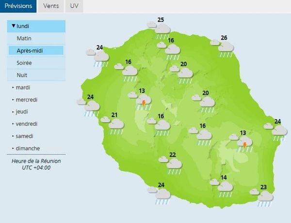 Carte météo de la Réunion le 22 octobre 2018 AM