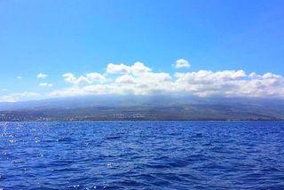 La côte Ouest de La Réunion vu de l'océan Indien
