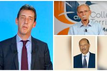 Le préfet, Fabrice Rigoulet-Rose, Alfred Marie-Jeanne, président du conseil exécutif et Claude Lise (en bas), président de l'Assemblée de Martinique.