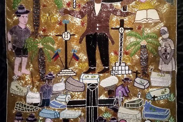 """""""Bannière Bawon"""", tableau de l'artiste haïtienne Myrlande Constant sur la symbolique vaudou (2005)"""