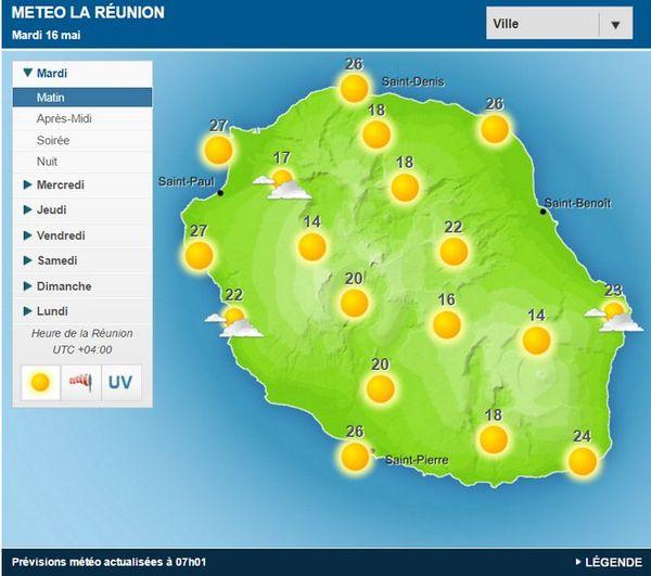 Carte météo du 16 mai 2017