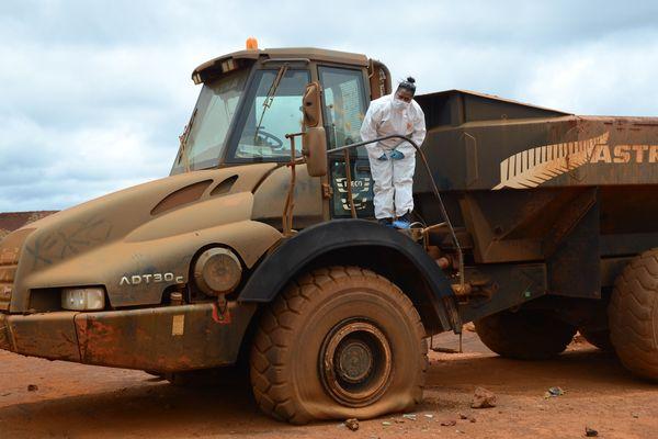 Sandrine Gitie en intervention sur un site minier pour un vol aggravé.