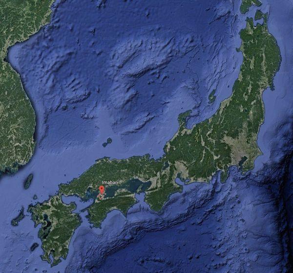 Carte Japon avec la ville d'Imabari.