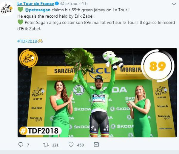 Tour de France 2018  :  Peter Sagan maillot vert