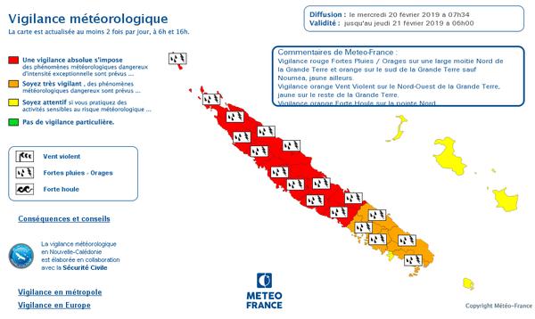 Carte de vigilance météo du 20 février 2019