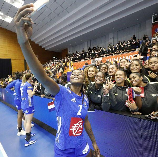 méline nocandy selfie fan handball