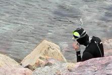 Un nageur s'apprête à se baigner à l'Anse à Rodrigue.