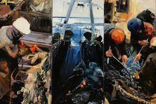 """Le tableau """"Sur les bancs"""" a permis à Raphaële Goineau de remporter le titre officiel de Peintre de la Marine."""