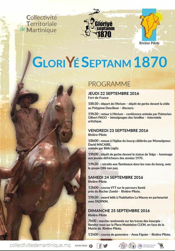 Programme Gloriyé Septanm 1870