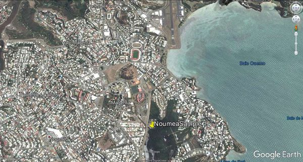Emplacement de la mare, près de l'aéroport de Nouméa, en Nouvelle-Calédonie, où un échantillon d'eau a été prélevé pour y trouver d'éventuels virus géants.