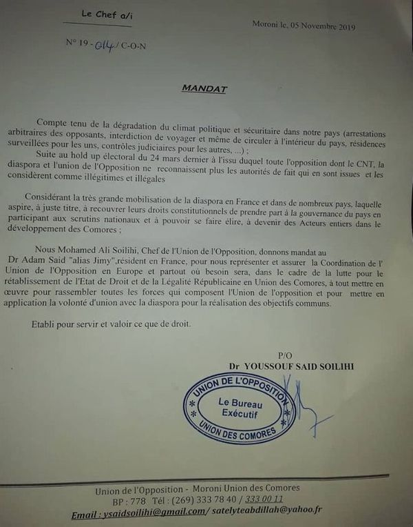 Lettre de nomination de Jimy Adam nov 2019