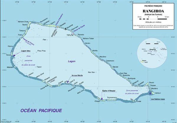 Carte de Rangiroa, l'atoll le plus peuplé des Tuamotu