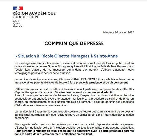 Communiqué de presse du rectorat de la Guadeloupe