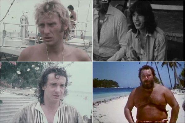 Johnny Hallyday, Mick Jagger, Michel Sardou et Carlos archives d'Outre-mer