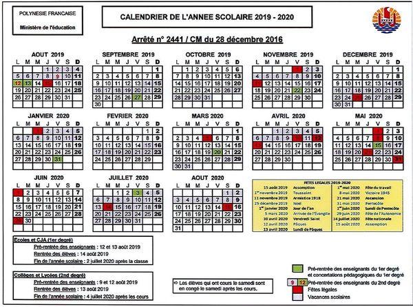 Le calendrier 2019 /2020
