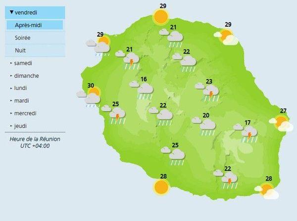météo pluies et orages carte vendredi 27 décembre 2019 après-midi