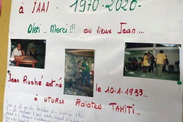 """Un panneau pour lui rendre hommage lors de l'exposition """"50 ans de volley-ball à Iaaï"""""""