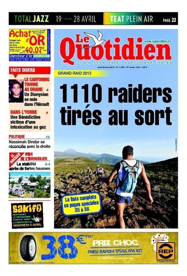 Le Quotidien de la Réunion du 28 mars 2013