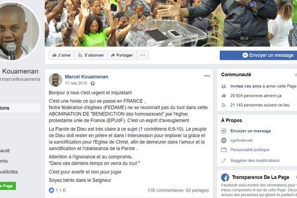 Capture d'écran d'une page Facebook du pasteur de l'Ame