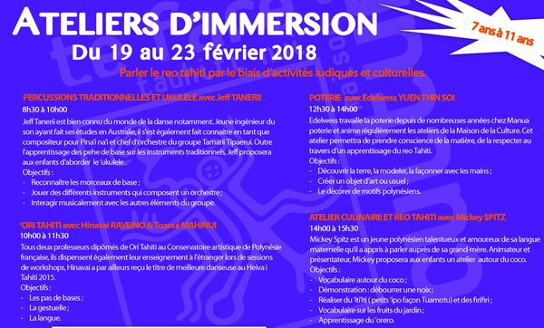 Ateliers d'immersion reo Tahiti - 2018