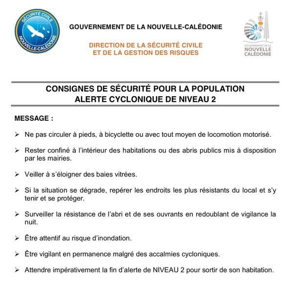Cyclone. Consignes alerte 2