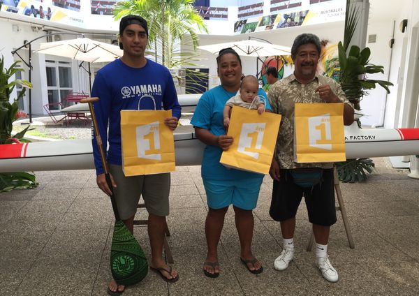 Les trois gagnants du jeu Hawaiki Nui Va'a 2016